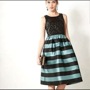 Leifsdottir Anthropologie Sequined & Striped Dress
